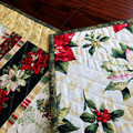 Christmas patchwork quilted table runner. Reversible Christmas dining decor