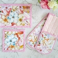 Floral Kitchen Gift Set | Double Oven Gloves and Hot Pads | Pink Cottage Decor