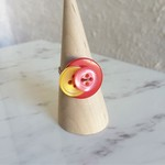 Pop Colourful Red Yellow Pink Geometric button wire ring (Size AU size O,US7)
