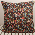 Navy Floral Cushion With Trim with 100% Recycled Insert