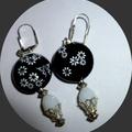 Black glass earringsFree postage