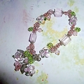 Hand made pink and green glass flowers bracelet.