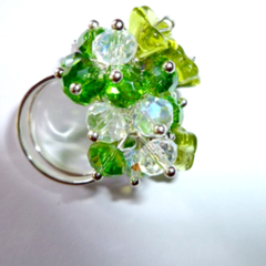 Green and ab crystal ring. Free postage