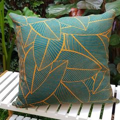 Green and Gold Cushion with 100% recycled insert