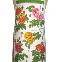 Metro Retro Roses Vintage Tea Towel Ladies Kitchen Apron