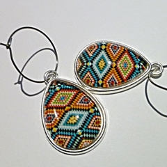Geometric/tribal design earrings. Free postage