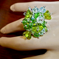 Green and ab crystal ring.