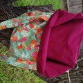 Lined tote bag - Floral & parrot