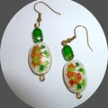 Cloisanne, green crystal and green enamel earrings.