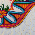 Embroidered placemat, art quilt, candle mat, colourful embroidered shoe