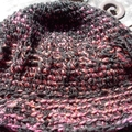 Brimmed winter hat crocheted from pure wool and acrylic