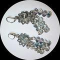 Postage free. Soft grey AB crystal earrings