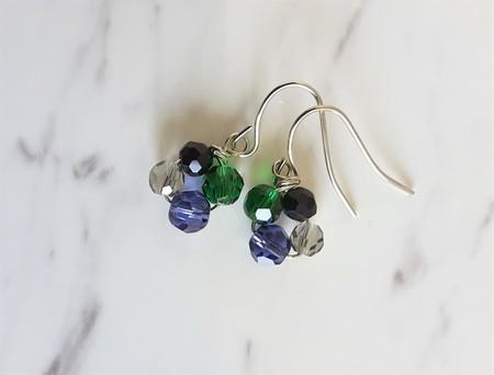 Mini cut glass bead drop earrings (Black Violet Black Gray , Art deco Modern )