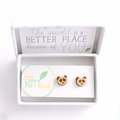 Panda stud earrings - animal studs, cute earrings, panda gift
