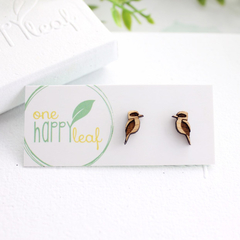 Kookaburra stud earrings - Australian bird studs, cute earrings, Australiana gif