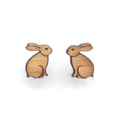 Rabbit earrings - rabbit stud earrings - Eco friendly laser cut wooden jewelry,
