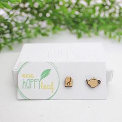 Tea pot and tea bag earrings - tea lover jewelry - gift for tea lover