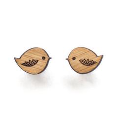 Bird stud earrings - wooden eco friendly wood bird studs, cute bird earrings