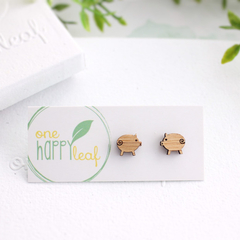 Pig stud earrings - pig earrings, pig jewellery, pig studs, gift for piglet love