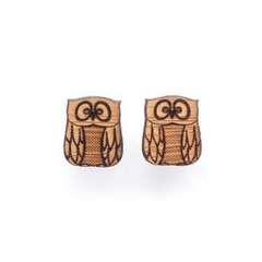 Owl earrings -  cute earrings - owl studs - owl jewellery bird earrings by One H