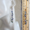 Long seed bead linked rings asymmetry statement earrings  (Blue , Boho Art deco)