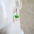 Glass square bead drop earrings ( Green Whit , Hippie Gypsy Simple Chic Modern )