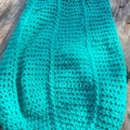 crocheted baby sleeping or pram cocoon. green and white acrylic and cotton