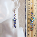 Long seed bead linked rings asymmetry statement earrings  (Blue , Boho Art deco)