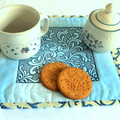 Table topper, candle mat, Trapunto embroidery, blue, cream, reversible