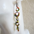 Long seed bead linked rings asymmetry statement earrings ( Yellow , Unique Artsy