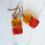 Glass square bead drop earrings ( Red Brown , Chic Woodland Modern Artsy Boho )