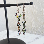 Long seed bead linked rings asymmetry statement earrings ( Black , Modern Gothic