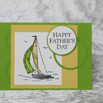 Yellow and Green Sailing Boat Father's Day Card