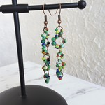 Long seed bead linked rings asymmetry statement earrings (Green , Hippie Cute )