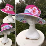 Hot pink with patchwork underside formal hat.