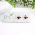 Aeroplane stud earrings - plane earrings, travel jewellery, plane studs, gift fo