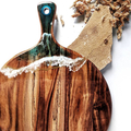Ocean Resin Wooden Chopping Board | Round Cutting Board for Beach House Housewar