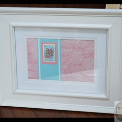 Framed Stamp from Barbuda – Heritage Decor, Pink & Blue