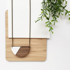 Everyday necklace long - semi circle necklace - wooden jewellery - wooden pendan