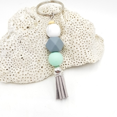 Geometric keyring in mint green, grey and marble with grey tassel