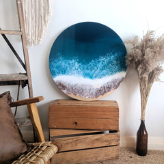 Ocean Resin Artwork | Beach Look Art Wall Hanging | Feature Abstract Ocean Resin