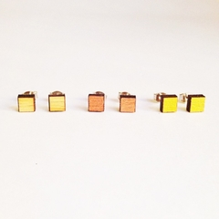 Set of three, square studs, square stud earrings, everyday earrings, small earri