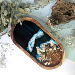 Sea Shell Ocean Resin Art Decorative Tray | Unusual Candle Holder Dish | Ceramic