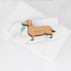 Sausage dog brooch - lasercut brooch - weiner animal, dachshund jewelry, dog bro