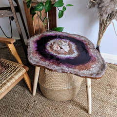 Crystal Geode Resin Art Coffee Table | Real Rose Quartz and Clear Quartz Art Sid