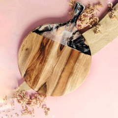 Round Pink Resin Chopping Board | Beige and Copper Nude Pizza Board Cheese Board