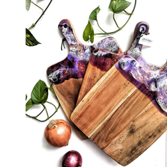 Purple Resin Wooden Chopping Board | Resin Cheese Board Housewarming Gift | Moth