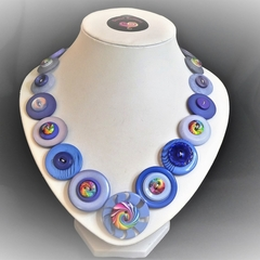 Ladies Button necklace -  Blue Swirls