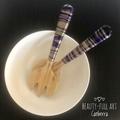 Purple and Gold Resin Art Bamboo Salad Server Set (2 piece)