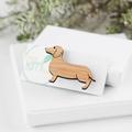 Sausage dog brooch - lasercut brooch - weiner animal, dachshund jewelry, dog bro